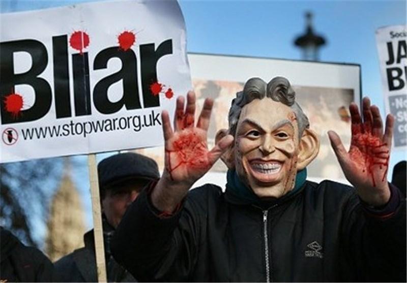 تصاویر، اعتراض فعالان انگلیسی به منتشر نشدن گزارش بررسی جنگ عراق