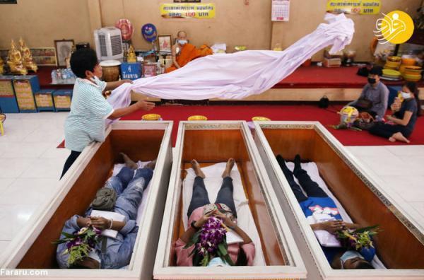 (تصاویر) فریب مرگ با خوابیدن در تابوت