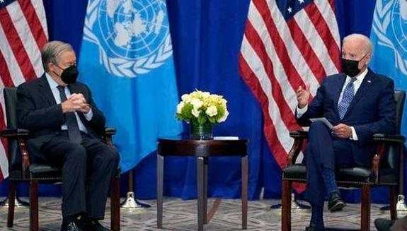 گوترش در ملاقات بایدن: آمریکا به چندجانبه گرایی متعهد باشد